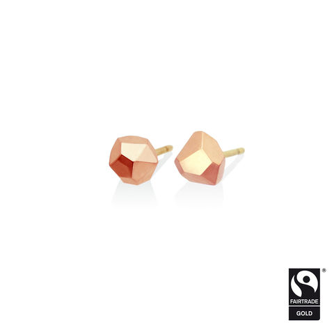 Asteroid,earrings,-,9k,rose,Fairtrade,gold,Fairtrade gold, asteroid, earrings, faceted, jewellery, rose gold, ethical, jewelry, 9k, 9 carat, 9ct