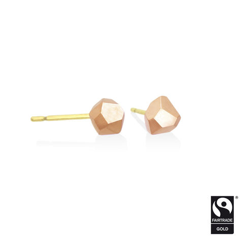Asteroid,earrings,-,18k,rose,Fairtrade,gold,Fairtrade gold, asteroid, earrings, faceted, jewellery, rose gold, ethical, jewelry