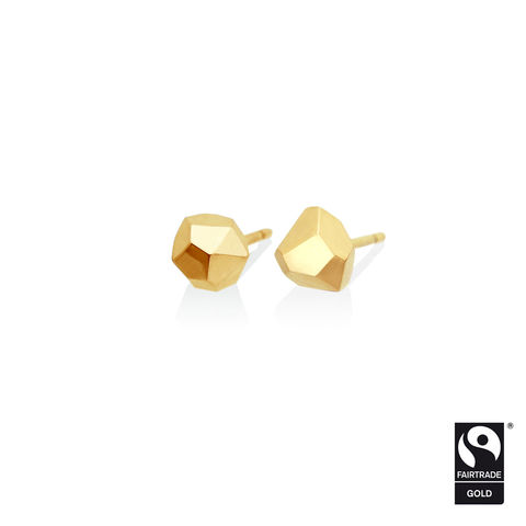 Asteroid,earrings,-,9k,yellow,Fairtrade,gold,Fairtrade gold, asteroid, earrings, faceted, jewellery, yellow gold, ethical, jewelry, 9k, 9 carat, 9ct, multi facet