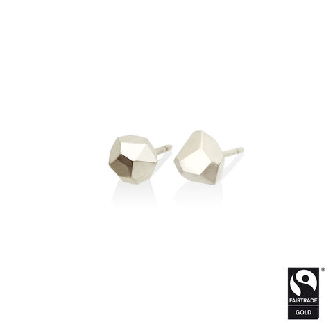 Asteroid,earrings,-,9k,white,Fairtrade,gold,Fairtrade gold, asteroid, earrings, faceted, jewellery, white gold, ethical, jewelry, 9k, 9 carat, 9ct