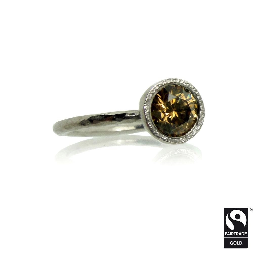 Diamond engagement rings alternatives - Fairtrade Gold Engagement Ring With Cognac Diamond