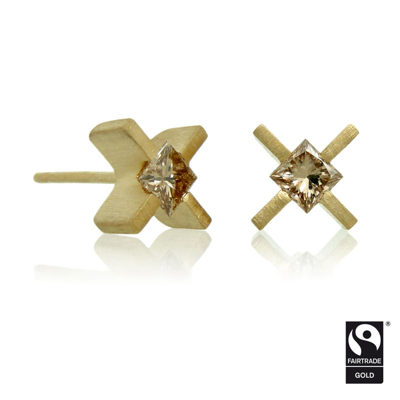 mini 'xx' earrings - 18k Yellow Fairtrade gold with princess cut dark champagne diamonds - product images  of