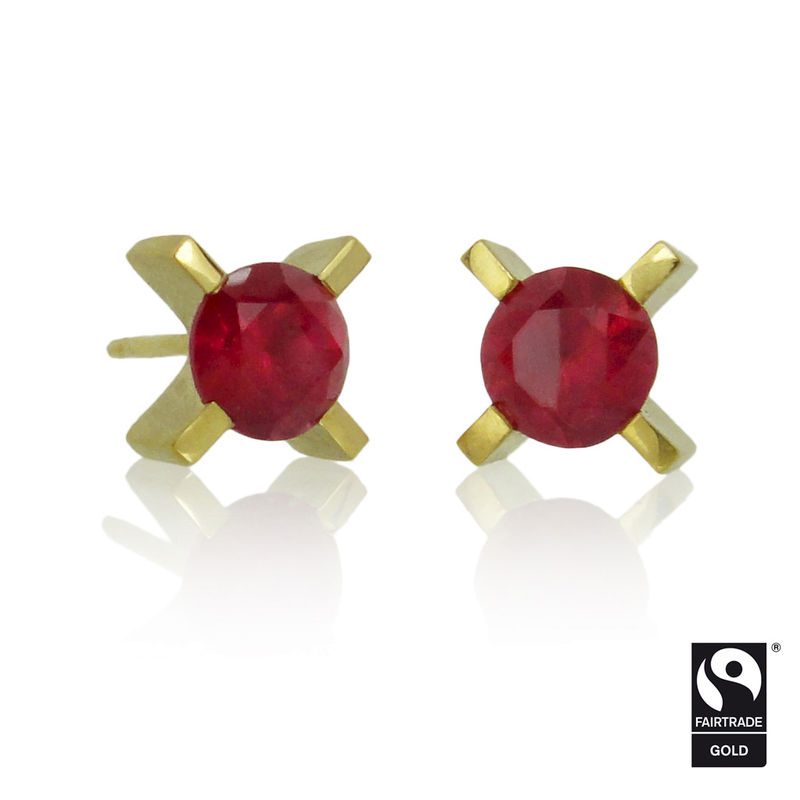 mini 'xx' earrings - 18k yellow Fairtrade gold with ethically sourced rubies <br> - COMMISSION ONLY - - product images  of