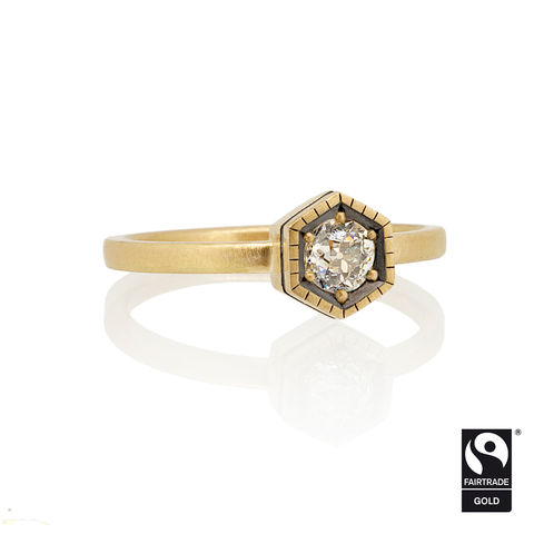 Hexagon,Ring,in,18k,Yellow,Fairtrade,gold,&,recycled,old,cut,diamond,-,commission,only,engagement ring, unique engagement ring, alternative engagement ring, bespoke, commission, old cut diamond, Fairtrade Gold, Hexagon