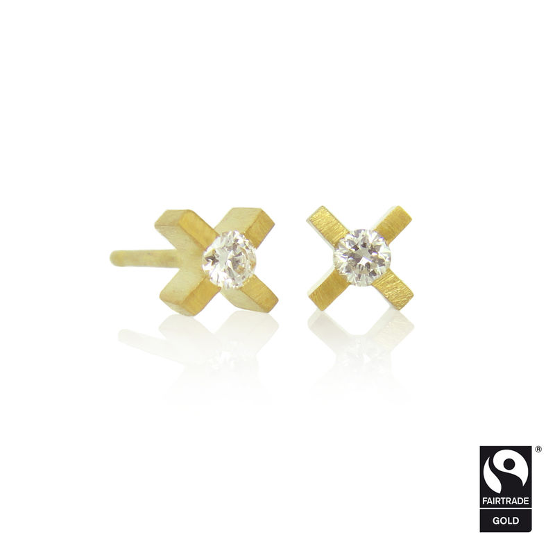 micro xx earrings in 18k yellow Fairtrade Gold with colourless diamonds - product images  of