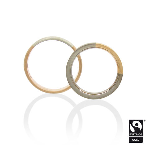 Arc,Wedding,Bands,in,Fairtrade,Gold,-,commission,only,Fairtrade Gold, Love story arc rings, alloyed, handmade, bespoke, white and rose gold, dual coloured, dual color