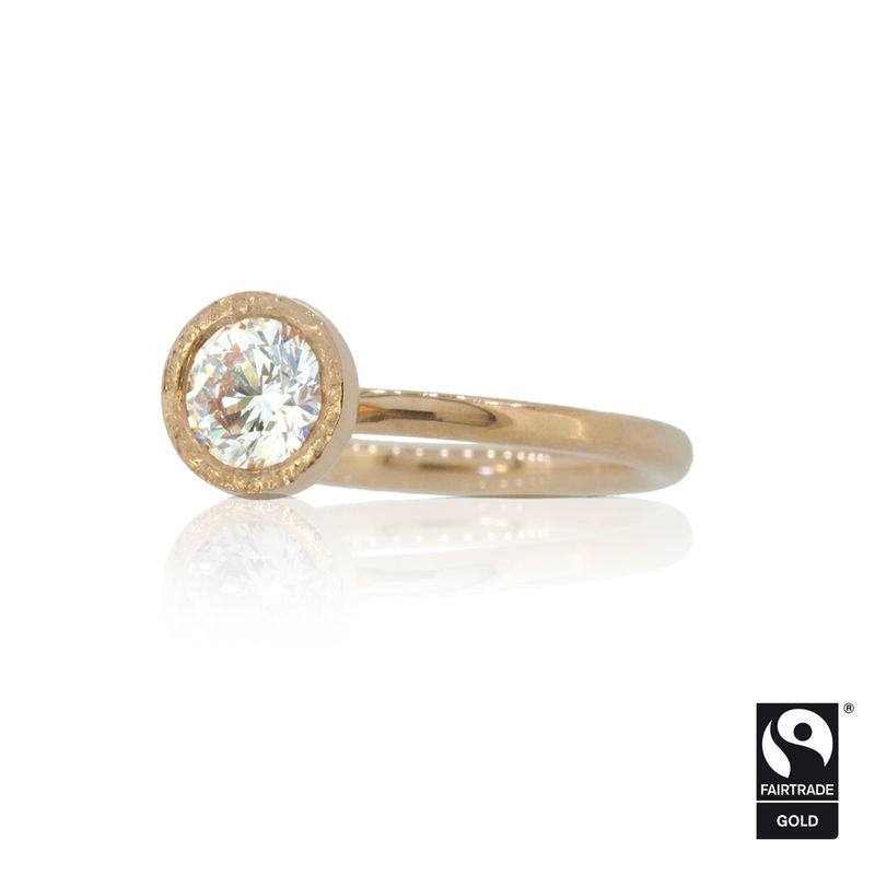 Diamond Solitaire Engagement Ring in Rose Fairtrade Gold <br>- <i> commission only </i> - - product images