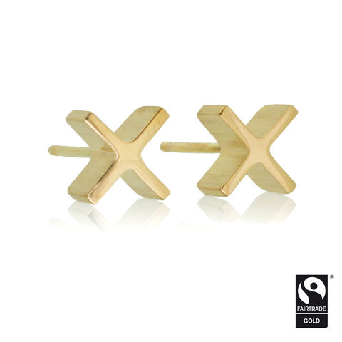 mini,'xx',earrings,-,18k,Yellow,Fairtrade,gold,Earrings, Sterling Silver, 18k yellow gold, 18k white gold, Contemporary Jewellery