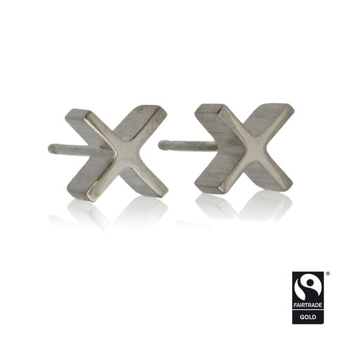 mini,'xx',earrings,-,18k,white,Fairtrade,gold,Earrings, 18k white gold, Contemporary Jewellery, Fairtrade & Fairmined