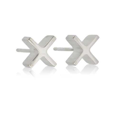 mini,'xx',earrings,-,Sterling,Silver,Earrings, Sterling Silver, Contemporary Jewellery