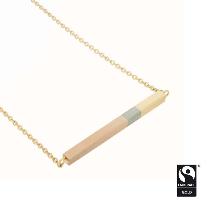 Three colour golden sunset necklace in 18k Fairtrade Gold - product images