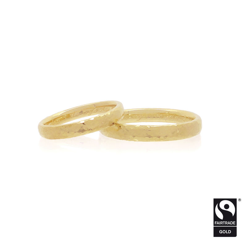 18k yellow Fairtrade gold hammered wedding bands <i> - commission only - </i> - product images