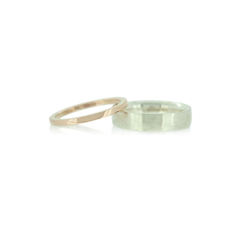 Wedding bands in Fairtrade gold and recycled sterling silver <br> - commission only - - product images