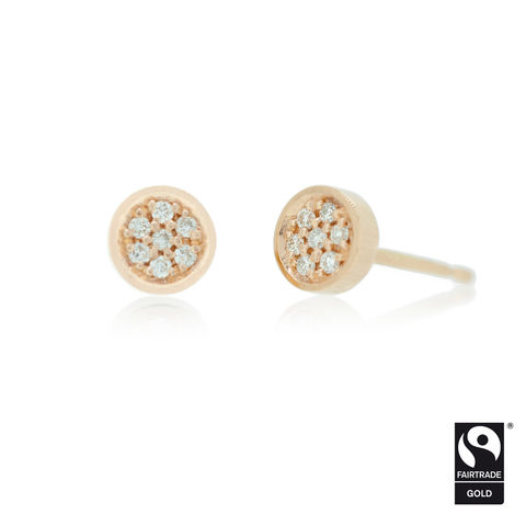 Micropave,circle,studs,in,18k,rose,Fairtrade,gold,-,commission,only,Fairtrade Gold, hand-alloyed, handmade, bespoke, unique
