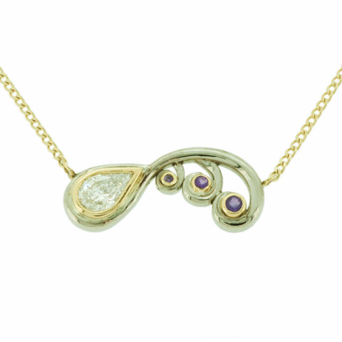 Scroll,necklace,with,pear,diamond,and,amythests,in,18k,Fairtrade,Gold,-,commission,only,Fairtrade Gold, hand-alloyed, handmade, bar necklace , unique, minimal design