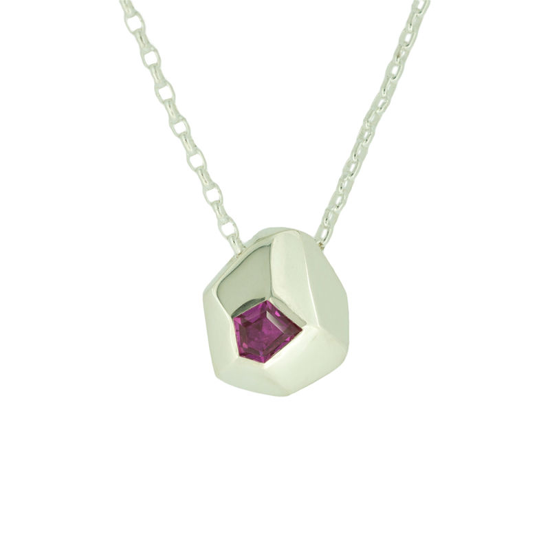 Asteroid Necklace - sterling silver with ruby  <br> - <i> commission only </i> - - product images