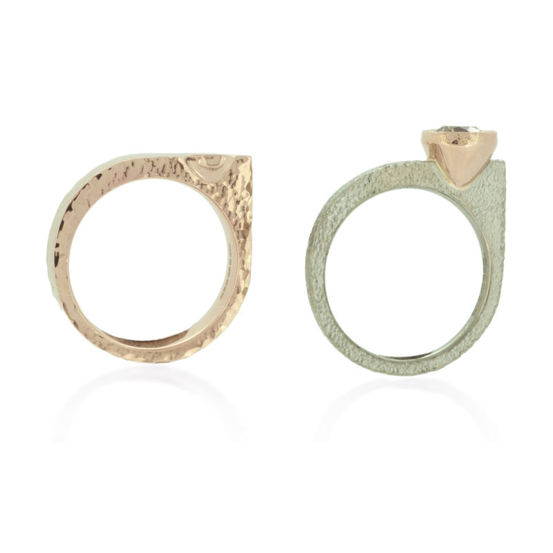 Asymmetrical Engagement and Wedding ring set in Fairtrade Gold with dark cham