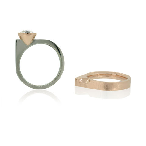 Asymmetrical,Engagement,and,Wedding,ring,set,in,Fairtrade,Gold,with,dark,champagne,diamond,-,commission,only,round square, bespoke, rose and white gold, Fairtrade gold, London, commission, unique engagement ring, one-of-a-kind engagement rings