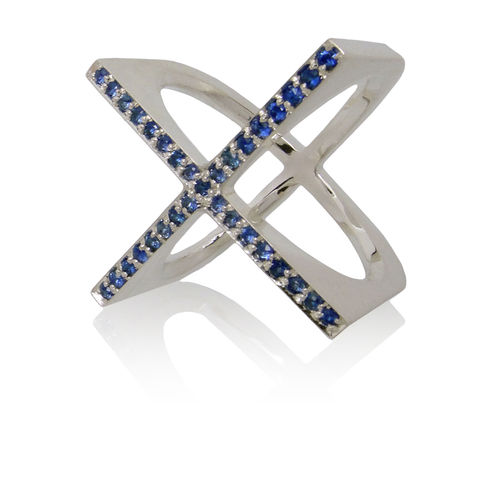 X,ring,with,Sapphires,Sterling Silver ring, contemporary jewellery