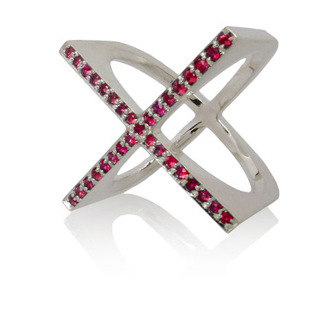 X,ring,with,Rubies,contemporary fine jewelry, contemporary fine jewellery, ruby, silver ring