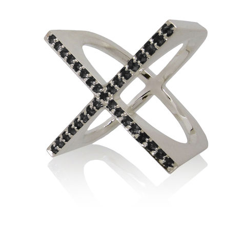 X,ring,with,black,sapphires,contemporary fine jewellery, contemporary fine jewelry, black sapphires