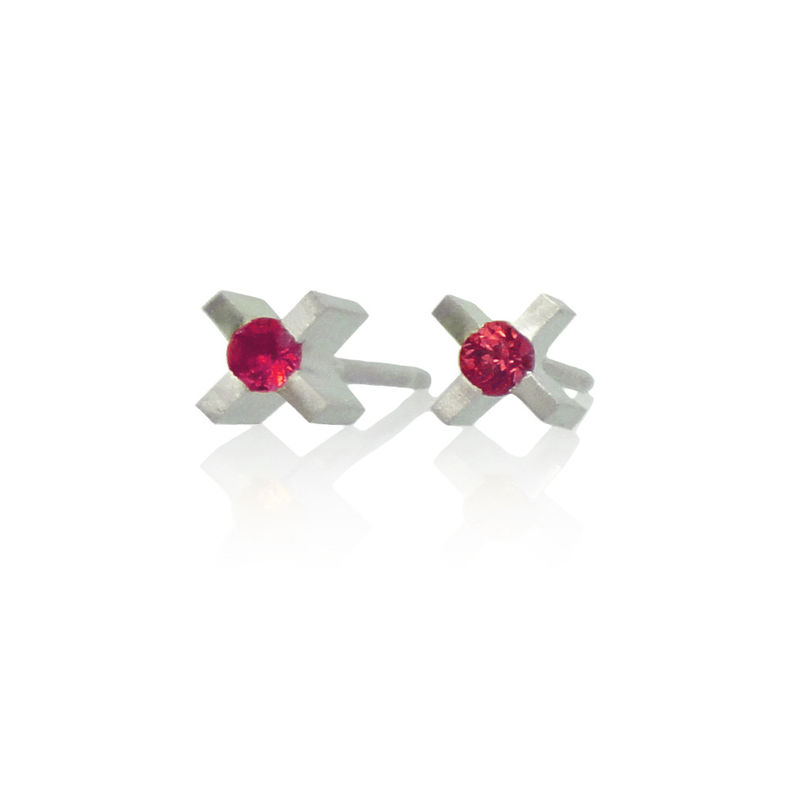 micro 'xx' earrings with rubies - product images  of