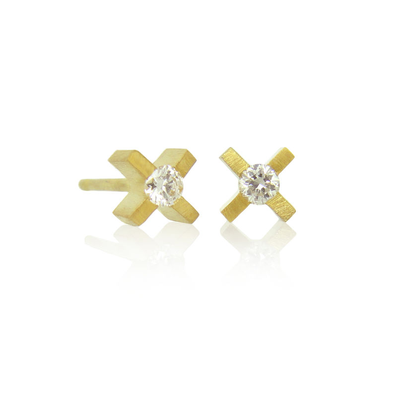micro xx earrings 18k yellow gold with diamonds - product images  of