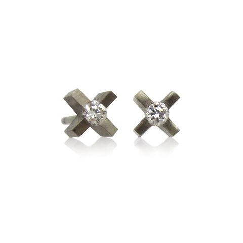 micro,xx,earringsin,18k,white,gold,with,diamonds,gold earrings, gold and diamond earrings, 18k gold and diamond earrings