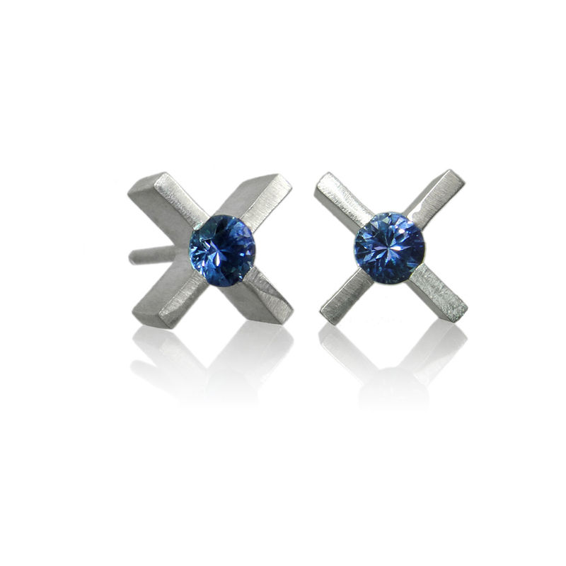 mini 'xx' earrings in silver with sapphires - product images  of 