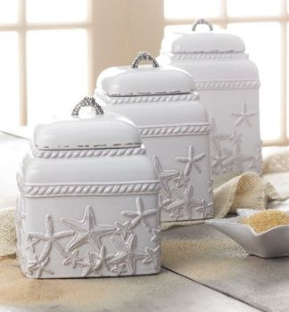 Sanibel,Canister,set,Culinary:Kitchen Necessities,Canister set coastal beach starfish