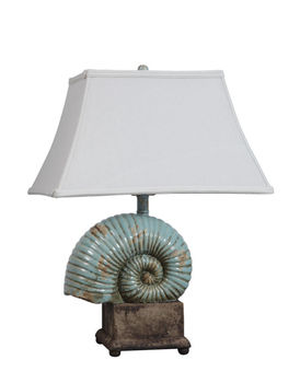 Nautilus,Ceramic,Lamp,Lighting - Lamps and night lights,nautilus ceramic stoneware lamp beachy coastal aqua shell