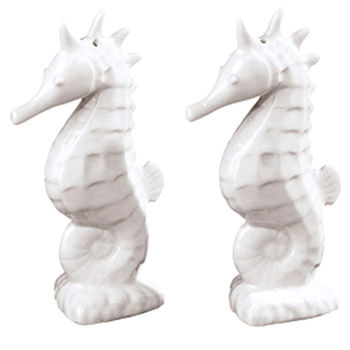 Seahorse,Salt,&,Pepper,White,Culinary:Salt & Pepper Shakers,seahorse salt and pepper salt & pepper ceramic pepper mill coastal