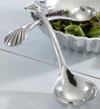 Aluminum,Cockle,Shell,Servers,India,Culinary:Tongs, Servers & Spreaders,cockle shell salad tong serving aluminum tongs