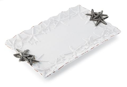 Starfish,Rectangular,platter,platter sanibel starfish handles mud pie shell motif coastal nautical beach