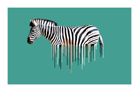 Zebra,Green,Art, Print, Animals, Zebra, green, teal, Africa, drips, urban, splash, flight, paint, painterly, affordable art, limited edition, art, print, art prints, signed edition