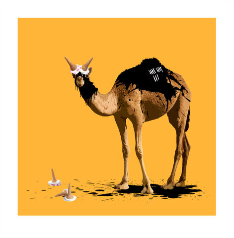 The,Camel,Who,Wanted,to,be,a,Bull,Art, Print, Animals, Camel, Bull, Yellow, Limited Edition, hand embellished, carl moore