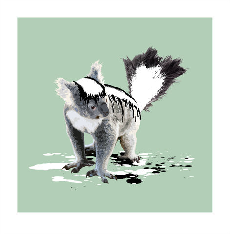 The,Koala,Who,Wanted,to,be,a,Skunk,Art, Print, Animals, Koala, Skunk, Green