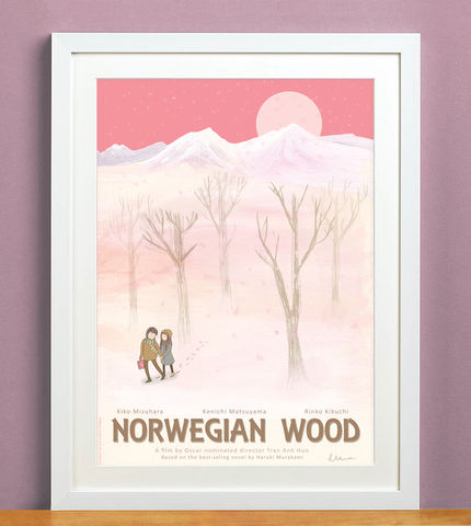Norwegian,Wood,print, haruki murakami, norwegian wood, murakami, tran anh hung, emmeline pidgen, pink, homeware, decoration, a3, film, poster