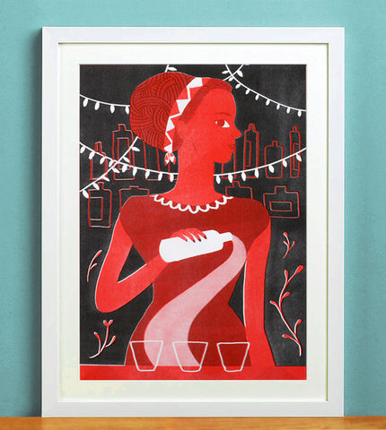 Shebeen,Queen,Risograph,Print,Risograph print, print, art print, shebeen, queen, feminism, woman, power, drink, red, black, south africa
