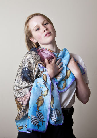 Under,the,Sea,Classic,Scarf,under the sea, coral, silk scarf, silk scarves, nkoyo, illustration