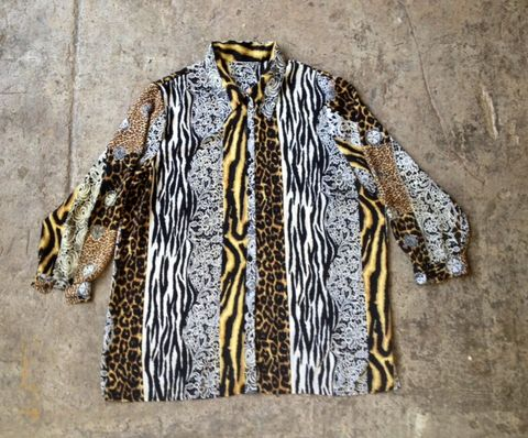 JUNGLE,SKINS,&,LACE,SHEER,BUTTON,DOWN,vintage, sheer, animal print, lace print, plus size, xxlarge