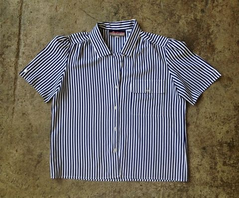 SASSY,AT,SEA,NAUTICAL,STRIPED,BUTTON,DOWN,vintage, 1930's, sailor, stripes, navy, button down