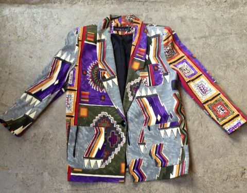 ELECTRIC,TRIBAL,PRINT,BLAZER,vintage, tribal, blazer, xlarge, multicolored