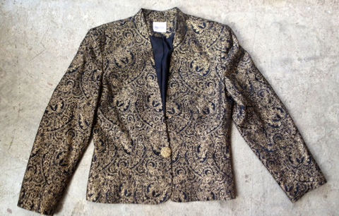 BLACK,&,GOLD,ORNATE,JACKET,vintage, gold, gold thread, fancy button, dressy jacket