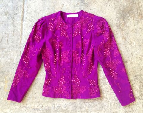 PURP,&,PEARLS,BEADED,JACKET,vintage, beaded, purple, jacket