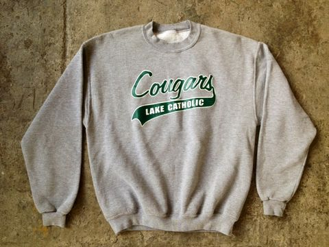 CATHOLIC,COUGAR,SWEATSHIRT,vintage, sweatshirt, catholic school girl, high school, team spirit