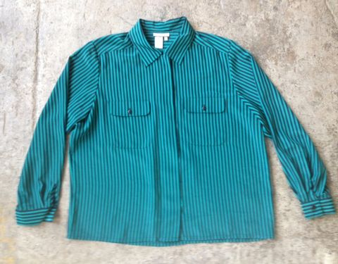 TEASE,ME,TEAL,STRIPED,BUTTON,DOWN,vintage, teal, striped, button down