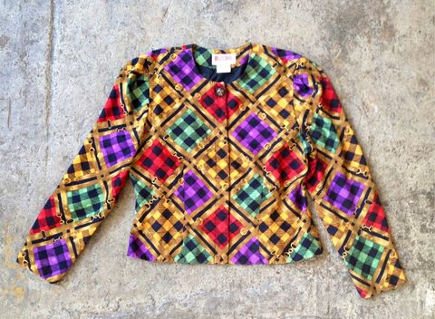 BUCKLE,ME,DOWN,CROPPED,JACKET,vintage, cropped jacket, gold buckle print, checkerboard print, hidden buttons, fancy button