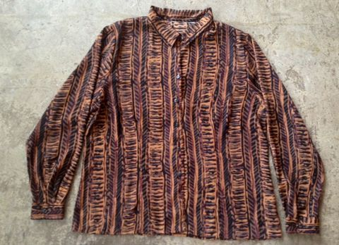 CHOCOLATE,TRIBE,BUTTON,DOWN,vintage, button down, tribal print