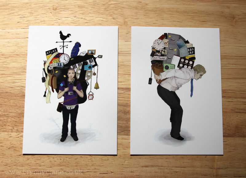 The Weight of Technology (Apps) Set of 2 Art IIllustration Postcard Prints - product image